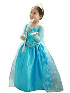 China Disney Costumes CXFashion Elsa Fantasia Baby Girls Cartoon Lace Party Dress Long Sleeves (4Y) on sale
