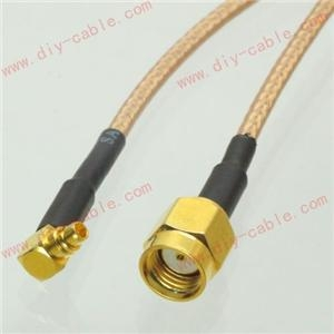 China RP-SMA male jack center to MMCX male right angle RG316 cable jumper pigtail 15cm on sale