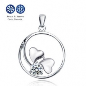 China CZ Diamond Charms Pendants For Girls/Womens Sterling Silver Heart Pendants on sale