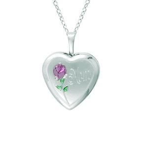 China Sterling Silver Heart Shaped Mom Locket With Rose Necklace on sale