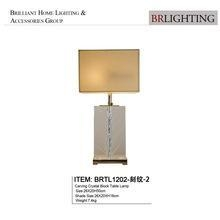 China Carving crystal block table lamp with lampshade for bedroom BRTL3012-1 on sale