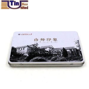 China Two Pieces Small Rectangular Color Pencils Hinged Lid Tin Box on sale