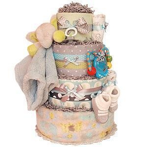 China Girl Diaper Cakes Grey and Blue Elephant Diaper Cake on sale