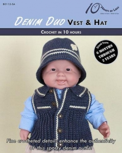 China CROCHET PATTERNS DENIM DUO Baby Vest & Hat on sale