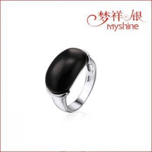 China Myshine silver ring designs turquoise jewelry 925 silver ring with black stone wholesale