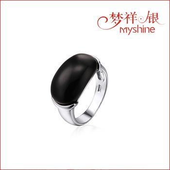 China Myshine silver ring designs turquoise jewelry 925 silver ring with black stone