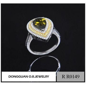 China Latest Fashion White Gold Heart Shape Ring Design For Women Wholesale