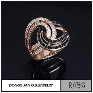 China R7563 Copper Material Rose Gold Plated #113 Corundum Ring wholesale