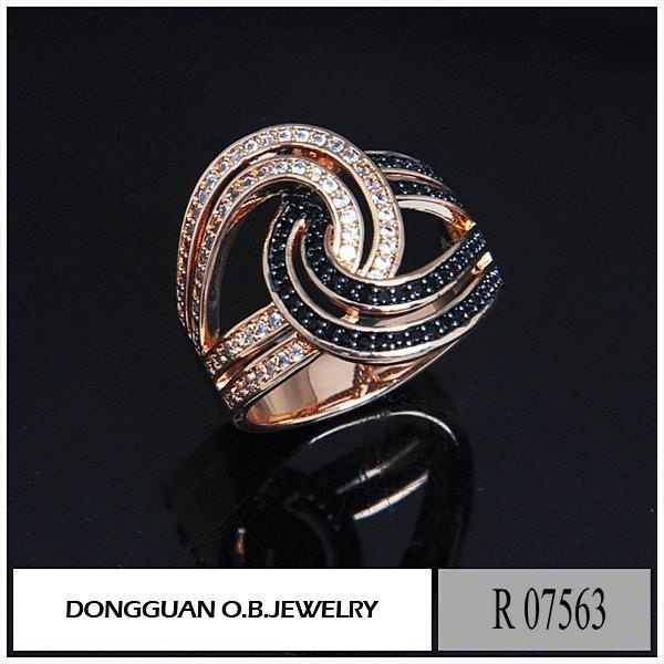 China R7563 Copper Material Rose Gold Plated #113 Corundum Ring