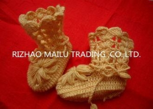 China Yellow Hollow Out Crochet Baby Booties Woolen Yarn Anti - Pilling Machine Washed on sale