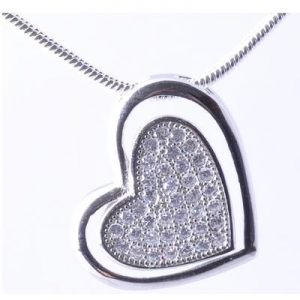 China white gold plating 925 sterling silver cubric zircon heart shape necklace on sale