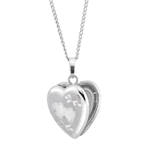 China Classic Small Double Etched Heart Locket Pendant - Designers on sale