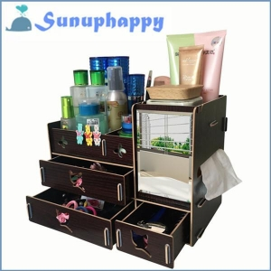 China Wholesale custom wooden mirror cosmetic make-up drawer cabinet box on sale