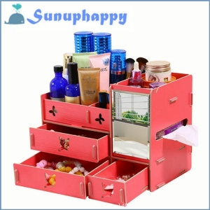 China Factory directly custom wooden mirror cosmetic make-up drawer cabinet box on sale