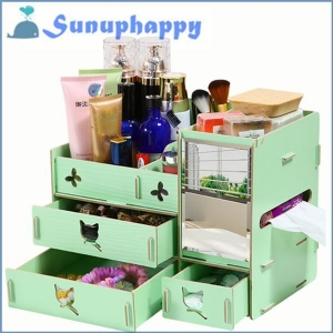 China Factory supplier custom wooden mirror cosmetic make-up drawer cabinet box on sale