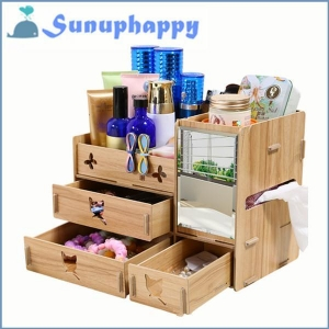 China Top sale new design wooden mirror cosmetic make-up drawer cabinet box on sale
