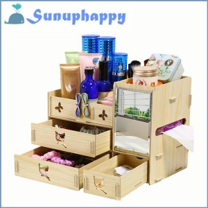 China High quality custom wooden mirror cosmetic make-up drawer cabinet box on sale