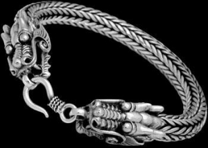 China Gothic Jewelry - .925 Sterling Silver Bracelets Dragon 'Naga' Heads B1043 - Ornate Hook Clasp wholesale