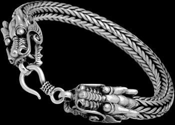 China Gothic Jewelry - .925 Sterling Silver Bracelets Dragon 'Naga' Heads B1043 - Ornate Hook Clasp