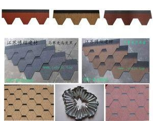 China Mosaic Roofing Shingles Colored Asphalt Types of Covering Roof Bitumen Sheets on sale