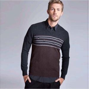 China Latest Stripes Jacquard Sweater Warm Soft V Neck Casual Jumper Men on sale