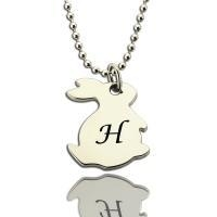 China Personalized Rabbit Initial Charm Pendant Sterling Silver on sale