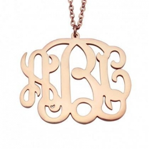 China 925 Sterling Silver Rose Gold Plated Personalized Monogram Engraved Initials Necklace on sale