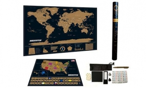 China Map Deluxe Black World Map With USA Map on sale
