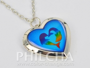 China Lovely Heart Locket Mood Necklace With Multiple Patterns In Silver Color Plating on sale