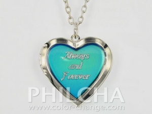 China Lovely Heart Locket Mood Necklace In Silver Color on sale