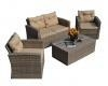 China PAS-1225B/Hot Selling 4PCS Wicker Patio Poly Import Rattan Garden Casual Furniture Sofa Set on sale