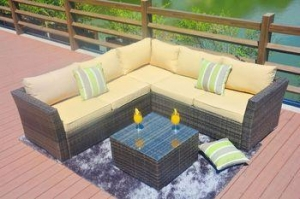 China PAS-1506 Outdoor Corner Poly Rattan Garden Furniture Sofa Set on sale
