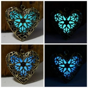 China New Hollow Heart Pendant Diffuser Luminous Glow in the Dark Locket Necklace on sale