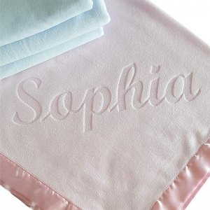 China Personalized Newborn Baby Blanket Wide Satin Trim wholesale
