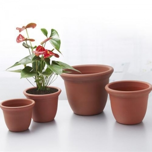 China Large Round Faux-Clay Plastic Pots wholesale