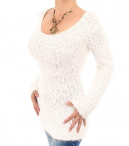 China Ivory Chunky Knit Scoop Neck Jumper on sale