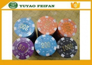 China ABS High Quality Poker Chips Dice Striped Plastic Poker Chip With Numbers on sale