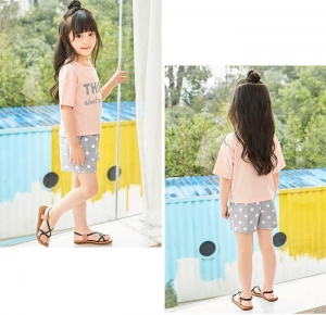 China Girls dress 15.Summer suit, new short-sleeved T-shirt shorts, children's casual two-piece set on sale