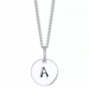 China FINEFEY Sterling Silver Initial A Disc Pendant Necklace on sale