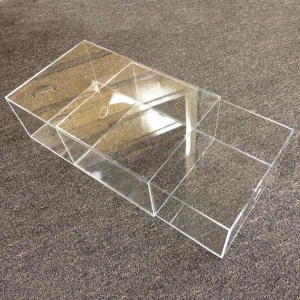 China Acrylic Large Shoe Display Box With Black Base on sale