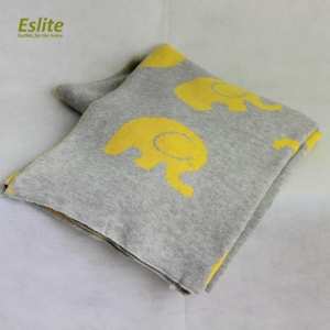 China Elephant Knitted Hot Selling Soft Cotton Baby Blanket on sale