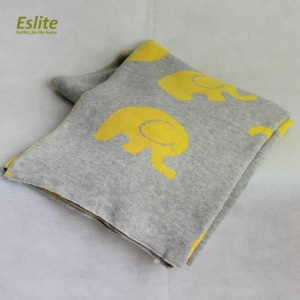 China 2019 New Design Soft Knitted Elephant Baby Blanket Organic on sale